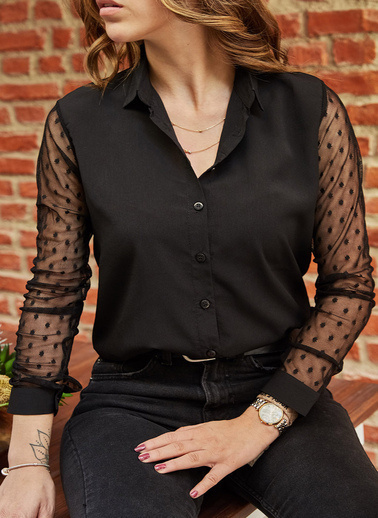 XHAN Kol Detaylı Gömlek 9Yxk2-41782-02 Siyah